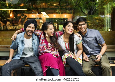 Friends Sitting Chilling Cheerful Concept