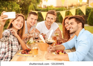 Friends taking selfie during barbecue picnic