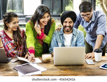 Friends Technology Devices Smiling Indoors Concept