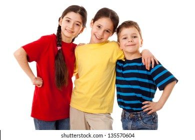 Friends - three kids together, isolated on white