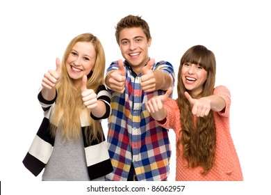 Friends with thumbs up