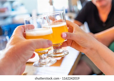 Friends Toast With Small Glasses of Micro Brew Beer at Bar.