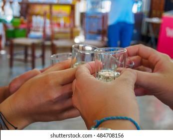 Friends toast and tasting of pisco in vineyard of Ica, Peru