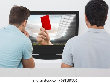 Friends watching soccer match on television against white background