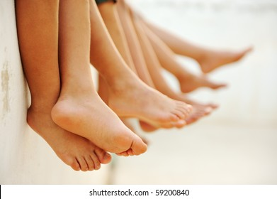 Friends without shoes together, summer, group of children