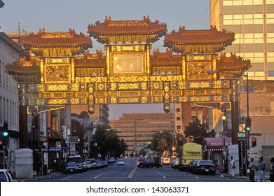Friendship Archway at sunset in Chinatown of Washington DC