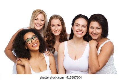 friendship, beauty, body positive and people concept - group of different happy women in white underwear