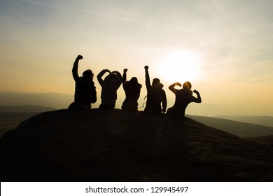 Friendship cheering silhouette