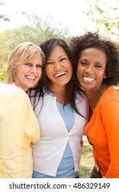 Friendship. Diverse group of women.