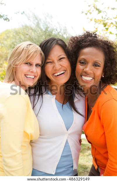 Friendship. Diverse group of women.