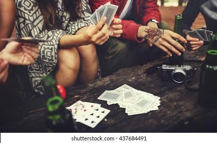 Friendship Hanging Drinks Cards Together Concept
