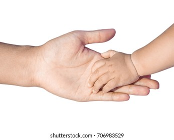 Friendship and love concept between dad and baby hand hold by a girl hand isolated on the white background. clipping path