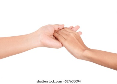 Friendship and love concept between man and woman - hand hold by a girl hand isolated on the white background