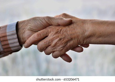 Friendship and love of senior man and elderly woman holding hands together color fog background