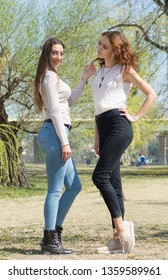 Friendship never ends. Two attractive beautiful young woman. Candid outdoor shot Girls having fun