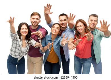 friendship and people concept - group of happy students over white background