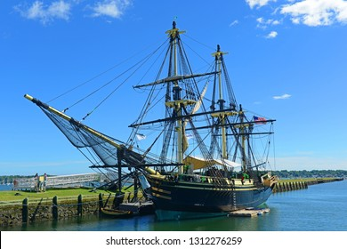 Friendship of Salem at the Salem Maritime National Historic Site (NHS) in Salem, Massachusetts, USA. This ship is a full scale replica of the East Indiaman Friendship served between 1797 - 1812.