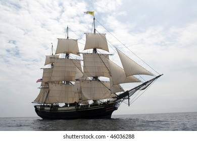 Friendship of Salem sails off of Gloucester - The Friendship of Salem is a National State Park and does not require a property release.