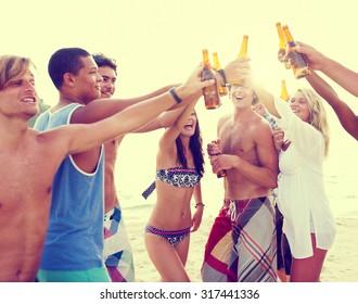 Friendship Summer Beach Party Bonding Cheers Leisure Concept