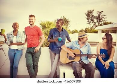 Friendship Togetherness Guitar Happy Enjoy Concept
