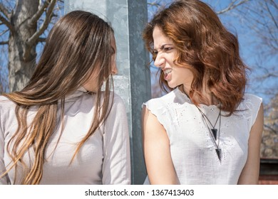 Friendship of two attractive beautiful young woman