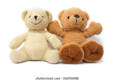 Friendship - two teddy bears on white background