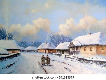 Friends,road,winter landscape, paintings oil