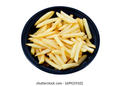 Fries in black bowl on white background