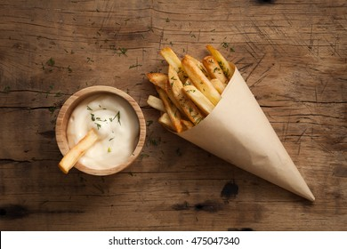 fries french sour cream still life flat lay rustic salt junk fastfood wood background