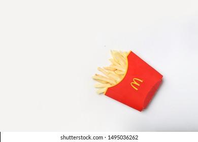 mcdonald's fries on white background isolated. yogyakarta indonesia. september 02, 2019.