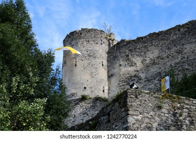 Friesach, Carinthia / Austria - July 12 2017: Castle of Petersberg, Oberhof, Ancient Ruins