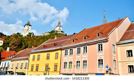 Friesach, Carinthia / Austria - October 10th 2018: Colourful buildings in the historic town of Friesach the oldest town in the Carinthia region of Austria.