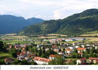 Friesach, Metnitztal, view from Petersberg to north-east