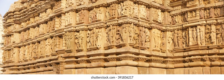 Frieze of gods, apsaras and mythical creatures on  Parsavanatha, Jain Temple Khajuraho in  India, Asia