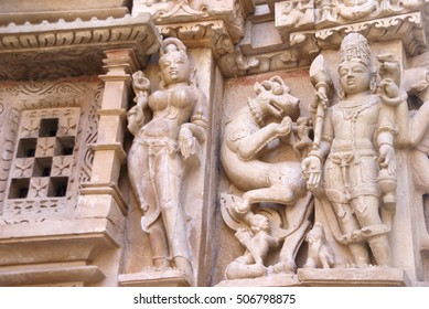 Frieze of gods, apsaras and mythical creatures on Parsavanatha, Jain Temple, Khajuraho in India, Asia