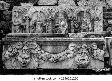 Frieze with relief of Aphrodisias (Afrodisias) Ancient City in Caria, Karacasu, Aydin, Turkey. Aphrodisias was named after Aphrodite, the Greek goddess of love. Hellenistic and Roman settlement.