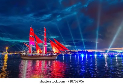 frigate with scarlet sails floating on the River.