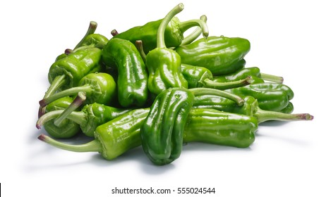Friggitelli, a pile of Tuscan or Greek mild peppers, called Pepperoncini in the US (Capsicum annuum). Clipping path, shadow separated