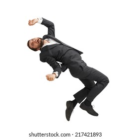 frightened businessman falling down and screaming. isolated on white background