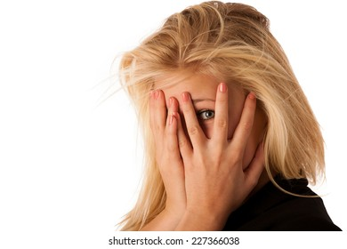 Frightened woman - pretty girl gesturing fear isolated