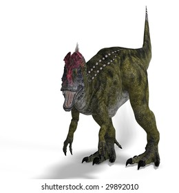 frightening dinosaur cryolophosaurus With Clipping Path over white