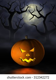 Frightening Halloween pumpkin or Jack O'Lantern in a spooky and misty forest under a full moon at night.