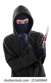 Frightening man holding bloody knife. isolated on white background