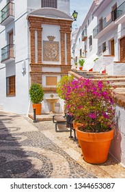 FRIGILIANA, SPAIN - 13 MAY, 2018: Old town of Frigiliana, Spain on 13 May, 2018. Frigiliana is a famous white city located in Andalucia, Spain