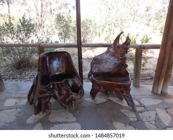 Friguia Park, Bouficha city, Tunisia - July 16, 2019: Two wooden chairs at the zoo in Tunisia.