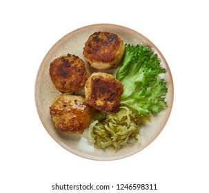 Frikadeller, pan-fried meatballs of minced mea, Danish homemade cuisine, Traditional assorted dishes, Top view.