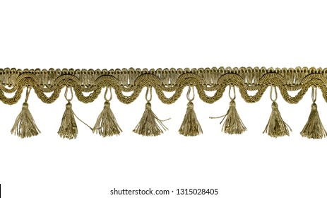 Fringe. Light brown braid with tassels. Isolated on white background