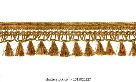Fringe. Yellow braid with tassels. Isolated on white background