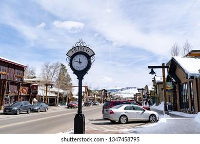 Frisco, Colorado / USA - March 20, 2019: Downtown Frisco Colorado on first day of Spring 2019.