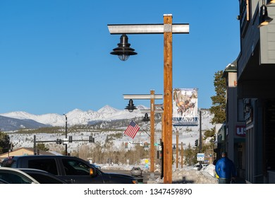 Frisco, Colorado / USA - March 20th, 2019: View  of mountains from downtown Frisco on first day of Spring 2019.